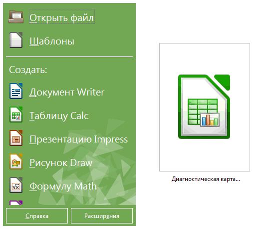 Стартовое окно LibreOffice