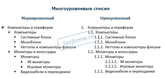 библиотека многоуровневых списков