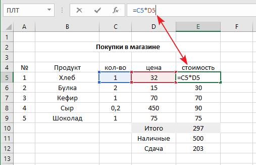 вычисление стоимости товара в Excel