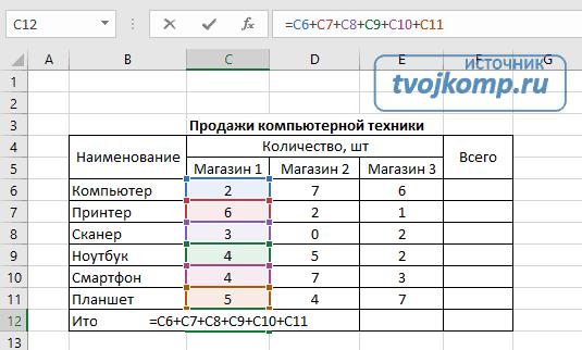 формула сложения в excel